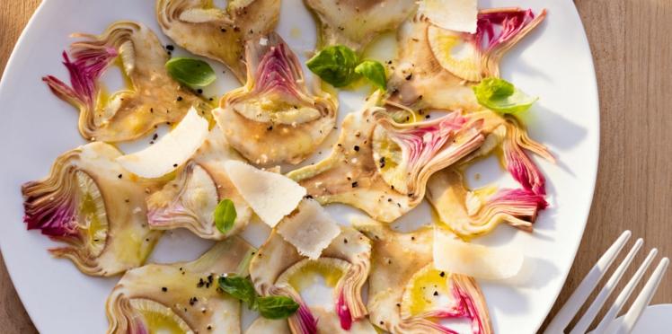 Carpaccio d'artichauts poivrades et parmesan