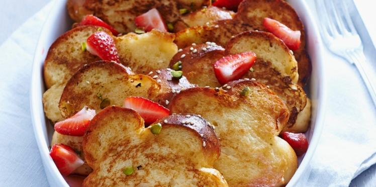 Brioche perdue aux fraises