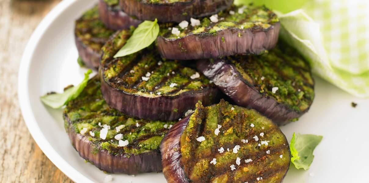 Aubergines grillées au pesto