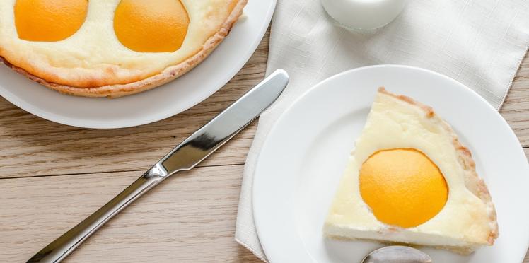 Gâteau aux pêches et fromage blanc