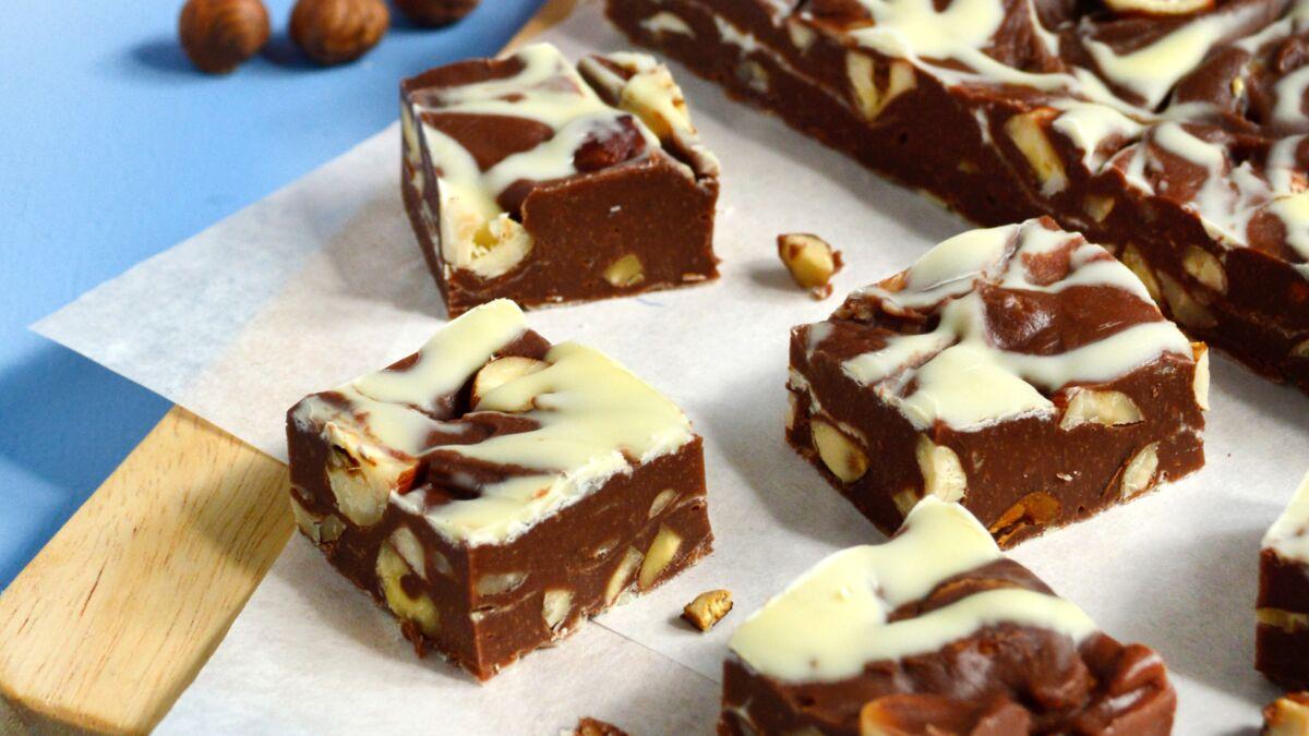 Fudge marbré chocolat noisettes