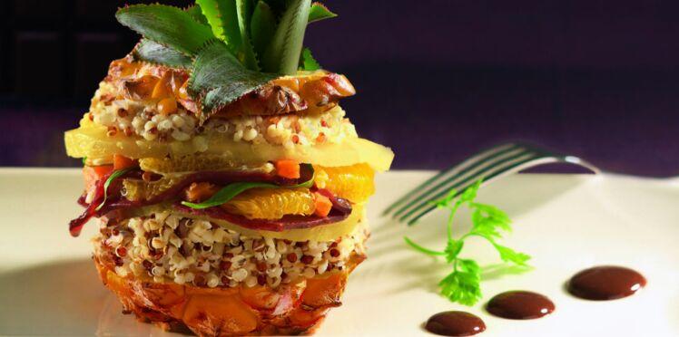Poelée exotique de quinoa gourmand aux émincés de canard et sa sauce chocolat épicée