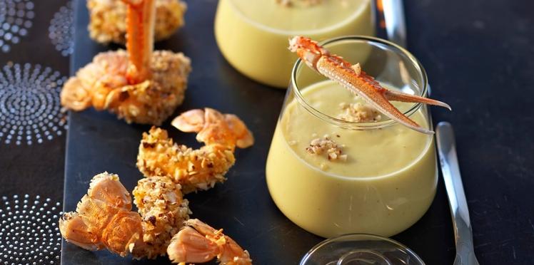 Crème de chou-fleur et croustillants de langoustines