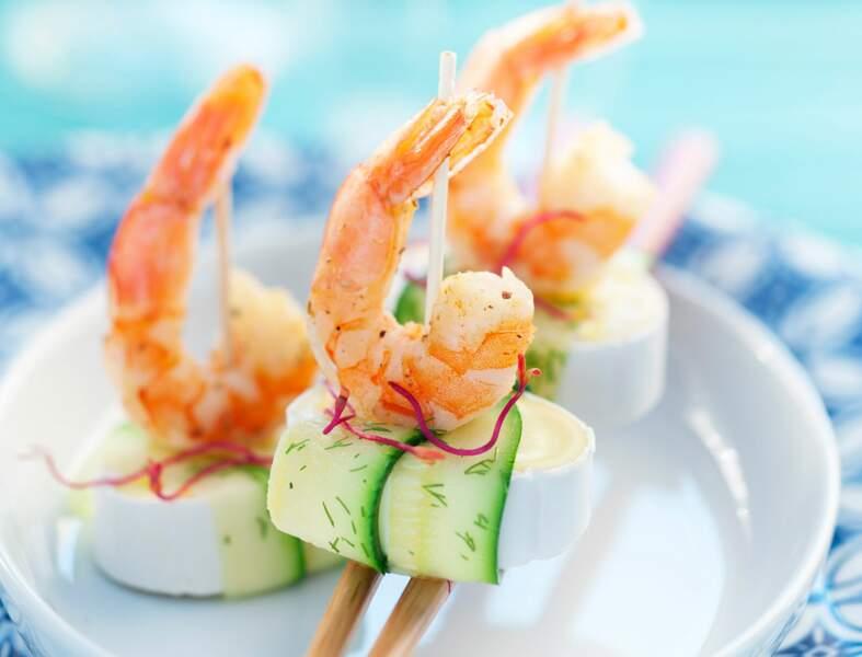 Bouchées de courgettes et crevettes