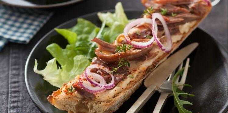 Baguette au canard et crème de haricots blancs