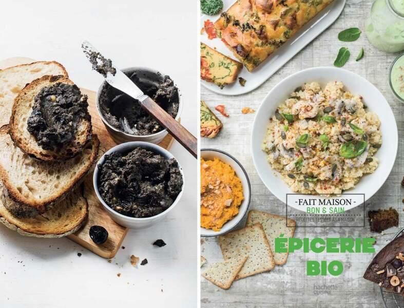 Houmous au sésame noir et aux olives
