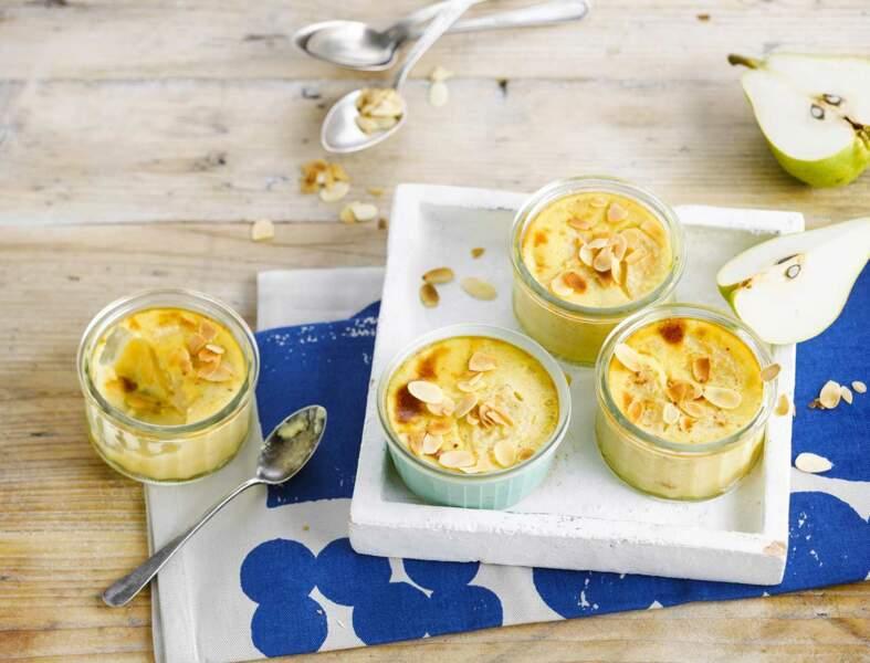 Petites crème poire-vanille au lait de soja