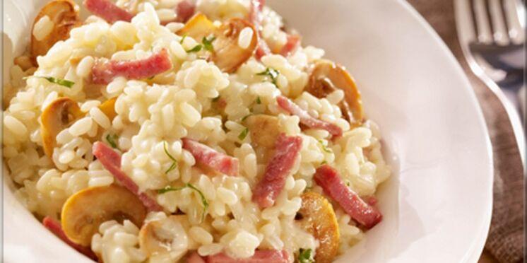 Risotto aux champignons et allumettes de bacon