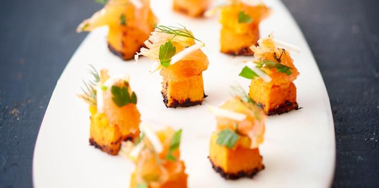 Cubes de Butternuts et saumon de Norvège gravlaks