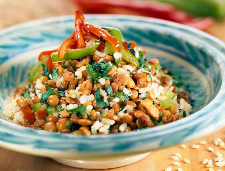 Salade de riz et lentilles à l'indienne