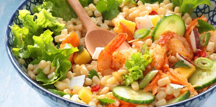 Salade thaï au maïs blanc et crevettes