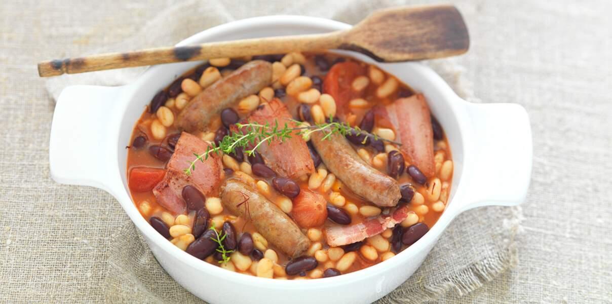 Cassoulet de haricots rouges et haricots blancs aux épices douces