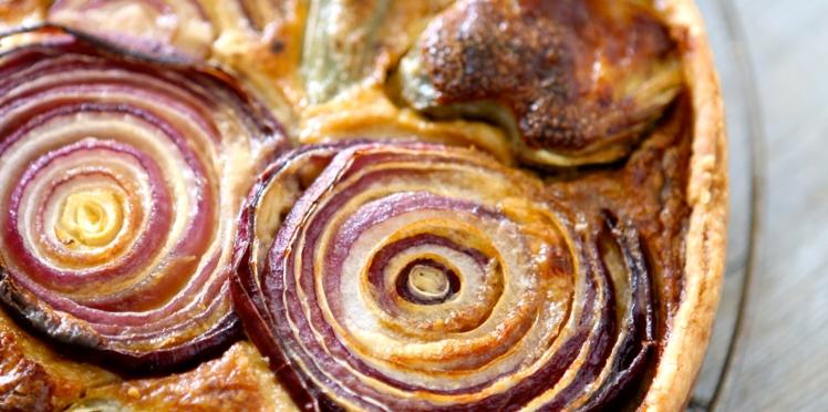Tarte aux artichauts et oignons violets