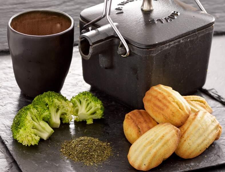 Madeleines brocolis et thé vert