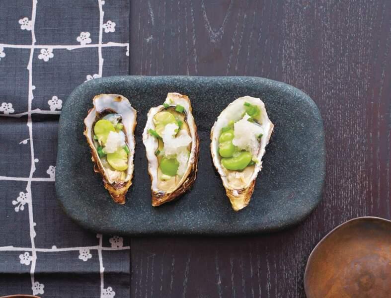 Huîtres aux fèves et au vinaigre de riz