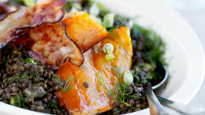 Haddock aux lentilles vertes et au lard grillé