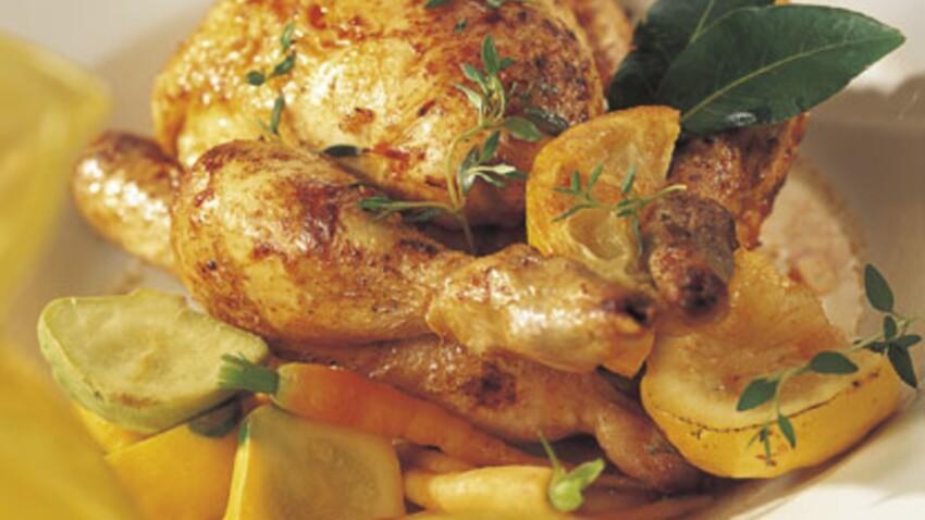 Coquelets rôtis au citron et au paprika