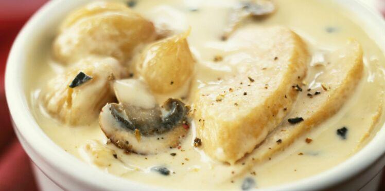 Emincé de dinde à la crème, Boursin et champignons