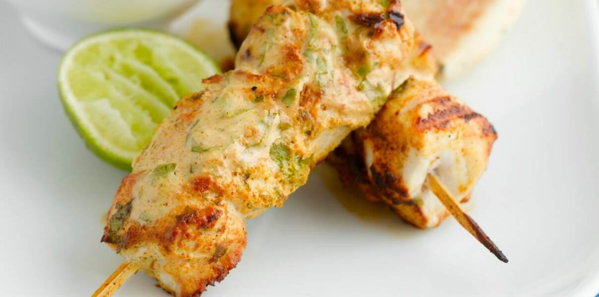 Brochette de poulet à la menthe et au yaourt