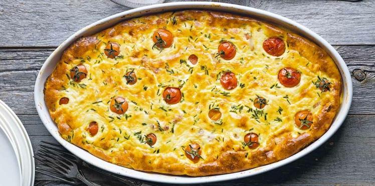 Clafoutis aux tomates cerises et aux lardons