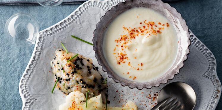 Tartare de noix de saint-jacques au caviar d'Aquitaine et cappuccino de chou-fleur