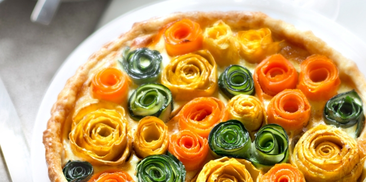 Tarte multicolore aux fleurs de légumes