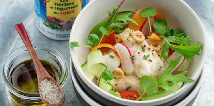 Salade de cabillaud, aux herbes et légumes du soleil La Baleine®
