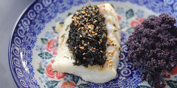 Cabillaud aux algues nori, chou kale & sésame