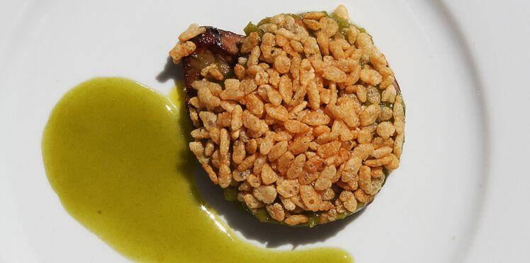 Crumble de foie gras et Reine-Claude