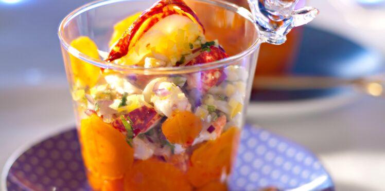 Verrines de homard et carotte à l'huile d'argan