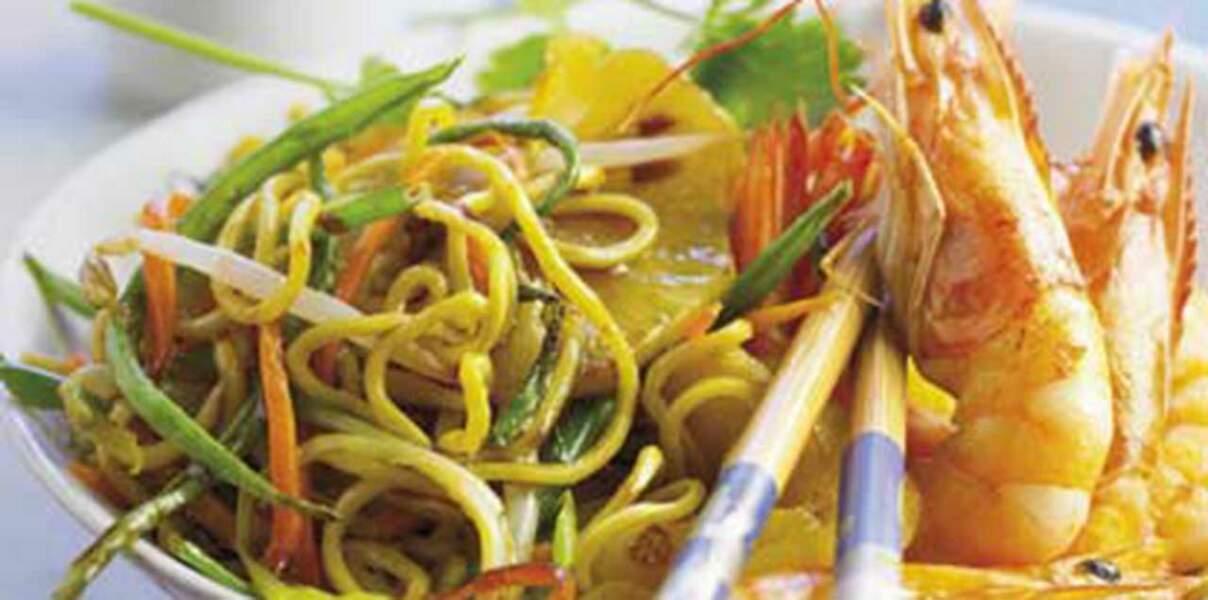 Crevettes à l'ananas crème de curry
