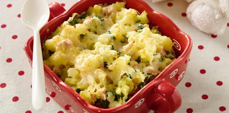 Gratin de pommes de terre au thon et épinards
