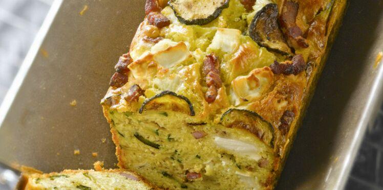 Cake courgette, chèvre et lardons