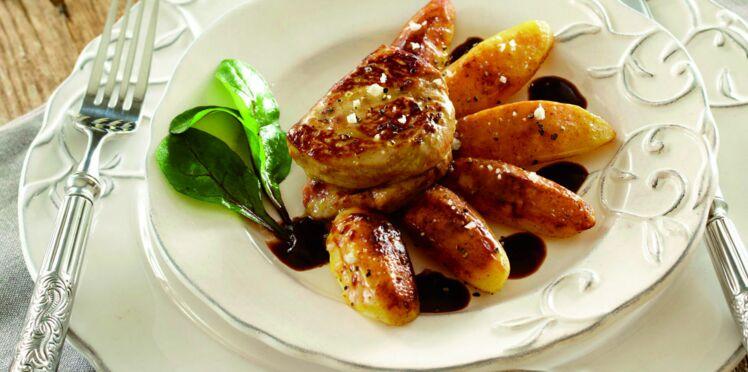 Foie gras de canard poêlé, Pompadour fondante acidulée