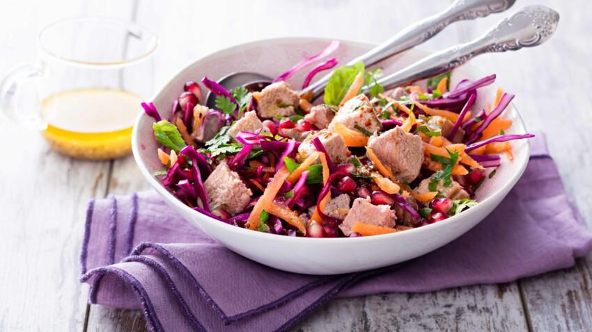 Salade d'agneau vitaminée au chou rouge et carottes