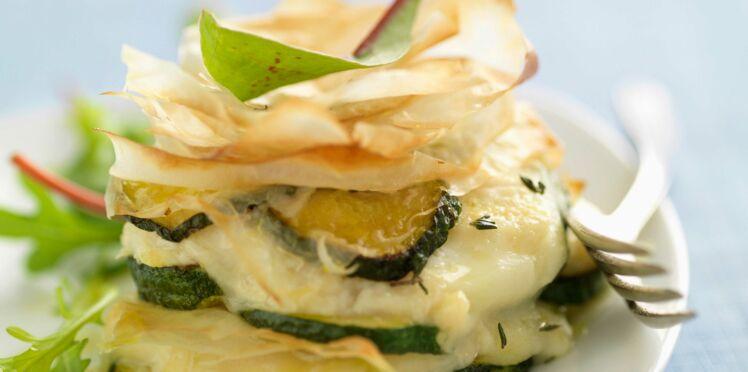 Mille-feuilles de courgettes au fromage de chèvre