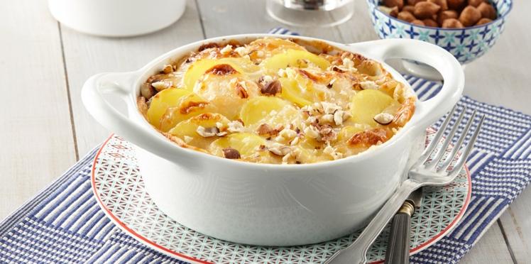 Gratin de pommes de terre à la crème de Maroilles et aux noisettes
