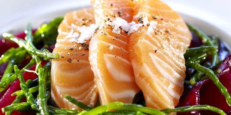 Saumon norvégien mariné aux fenouil marin et betterave