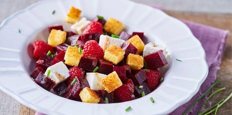 Salade de framboises, betteraves et feta