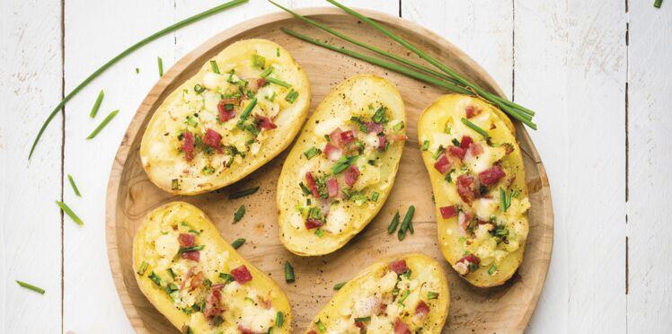 Pommes de terre farcies à la raclette et à la pancetta