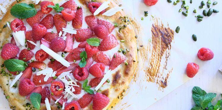 Pizza vanille et fruits rouges