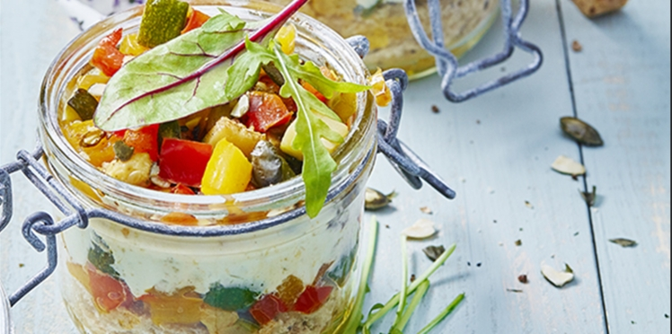 Tiramisu aux légumes du soleil et au pesto