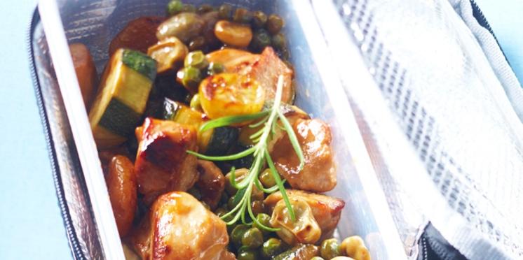 Tajine de poulet et courgettes au citron confit