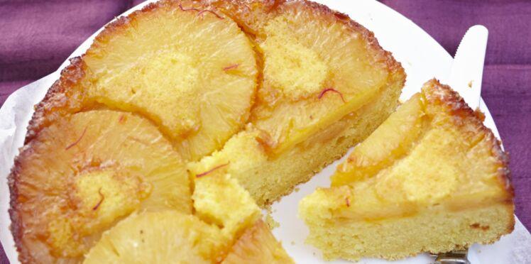 Gâteau à l'ananas frais caramel et safran