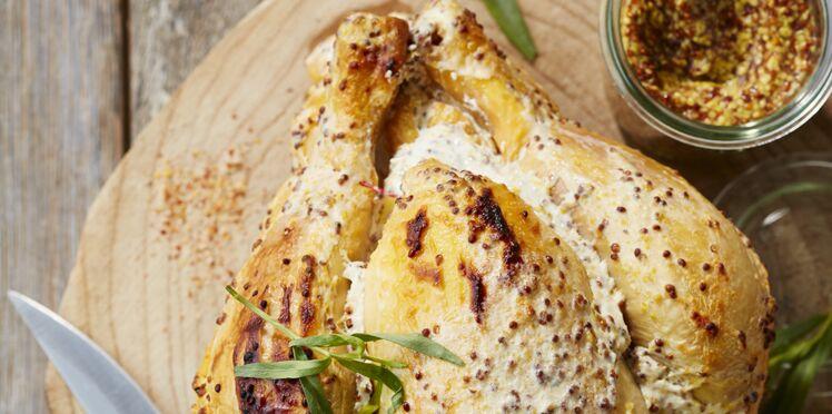 Poulet rôti fondant à la moutarde à l'ancienne et à l'estragon