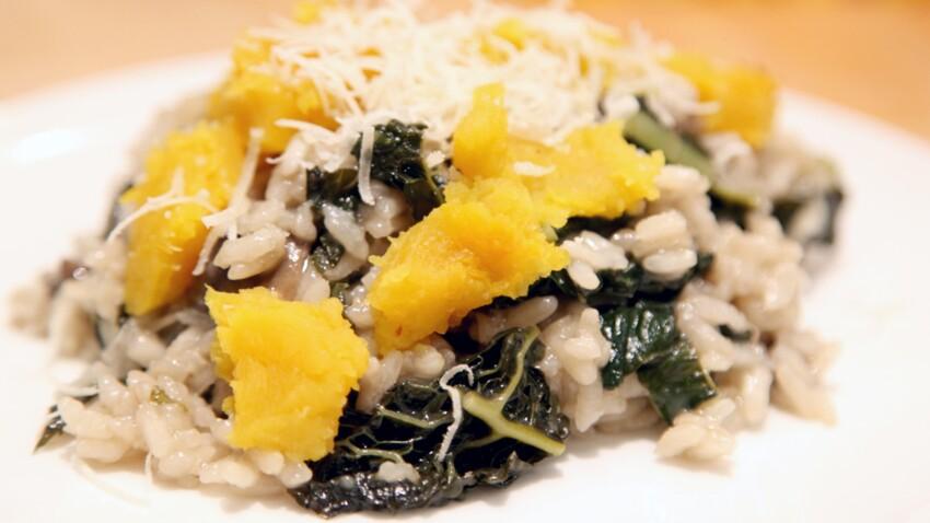 Risotto de courges et chou kale