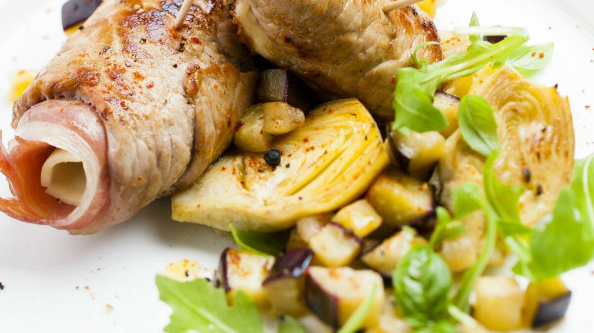 Saltimbocca de veau aux aubergines et mozzarella