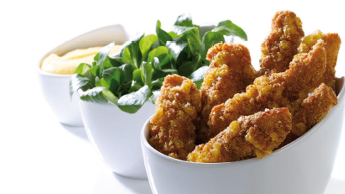 Nuggets de poulet panés au Curly® et mayo au pastis