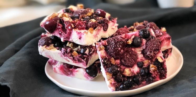 Frozen yogurt barks aux fruits rouges