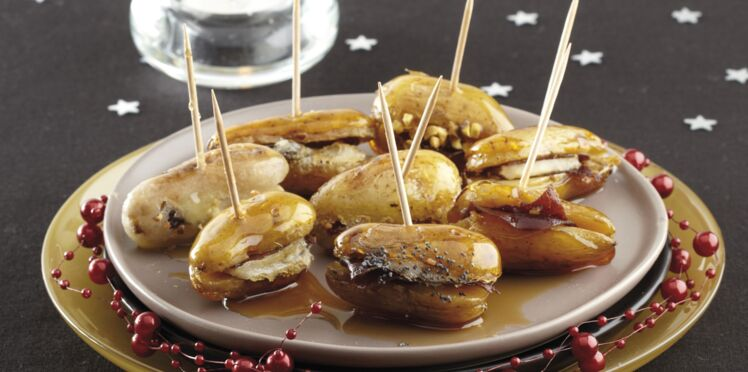 Bouchées de rattes du Touquet au porc caramélisé